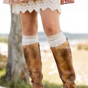 As-Is London Lace Boot Cuffs cream
